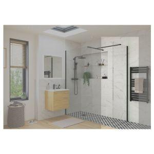 Reflexion Iconix Black Profile Wetroom Side Panel 800mm