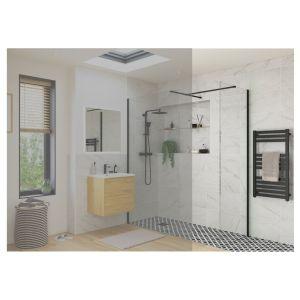 Reflexion Iconix Black Profile Wetroom Side Panel 900mm