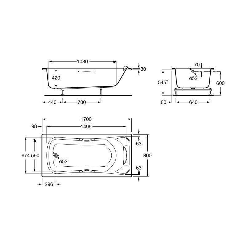 Roca Becool Acrylic Bath 1700 x 800mm 2 Handgrips 1 Headrest