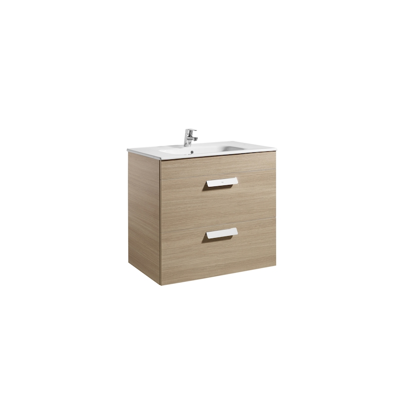 Roca Debba 800mm Base Unit with 2 Drawers & Square Basin Textured Oak