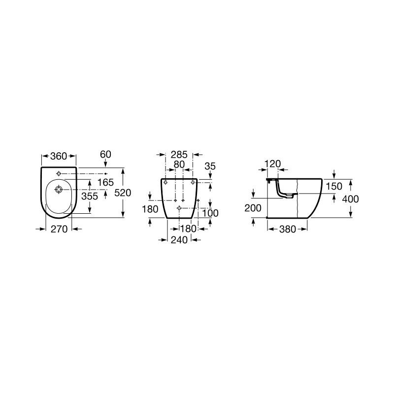 Roca Meridian-N Compact Floor-Standing Bidet Back-To-Wall