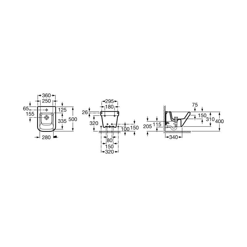 Roca Dama-N Compact Wall-Hung Bidet 1 Taphole