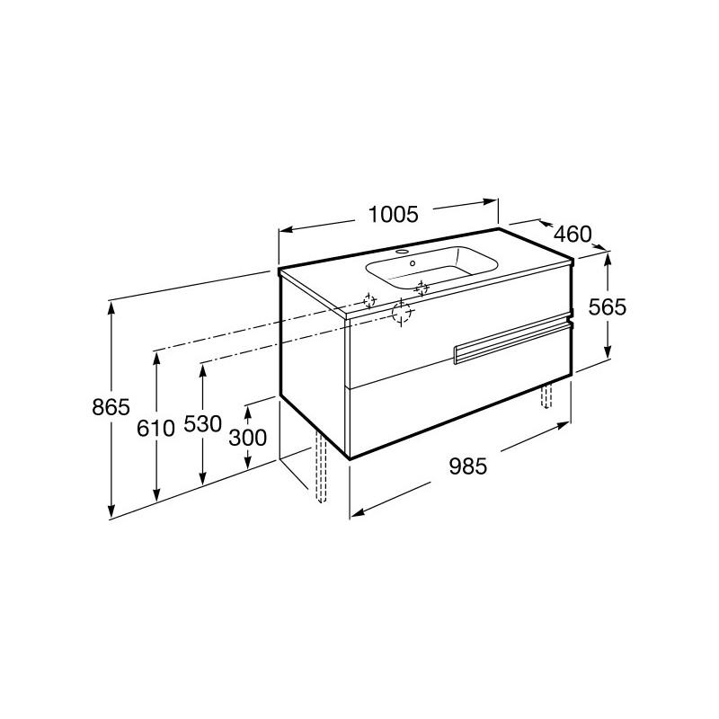 Roca Victoria-N Unik 1000mm 2 Drawer Base Unit & Basin Grey