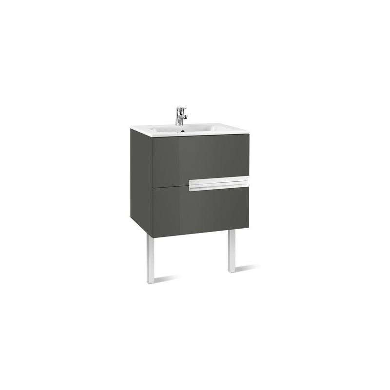 Roca Victoria-N Unik 700mm 2 Drawer Unit & Basin Gloss Grey