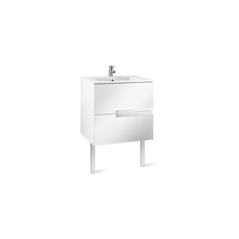 Roca Victoria-N Unik 600mm 2 Drawer Unit & Basin Gloss White
