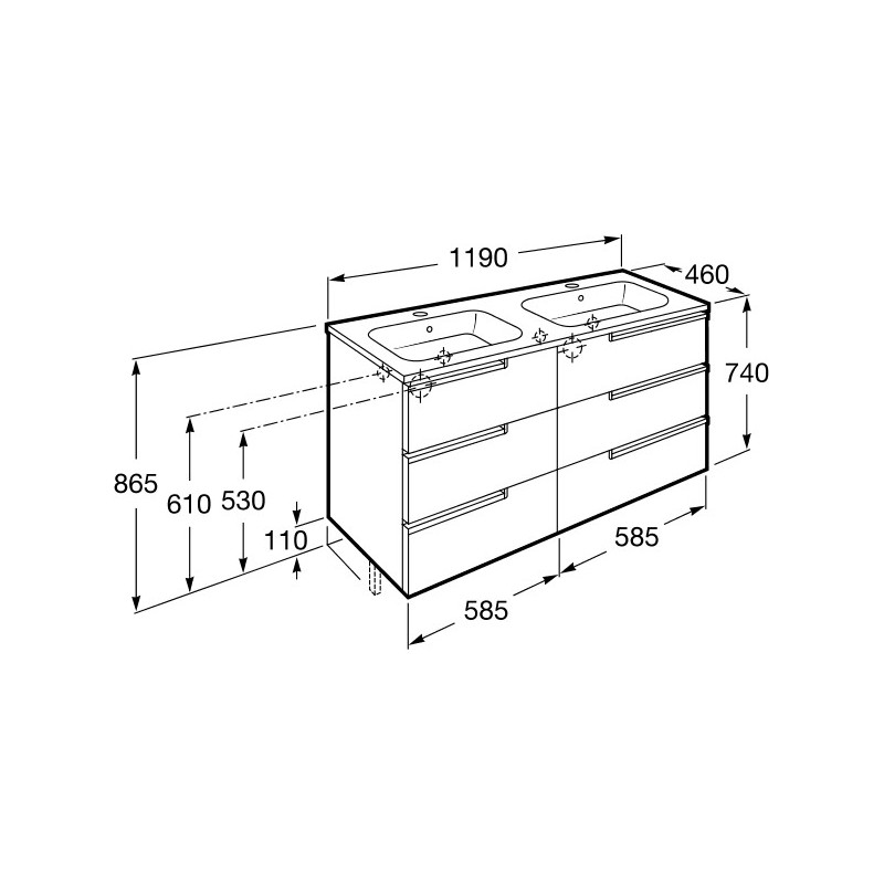 Roca Victoria-N Unik 1200mm 3 Drawer Unit & Double Basin Wenge