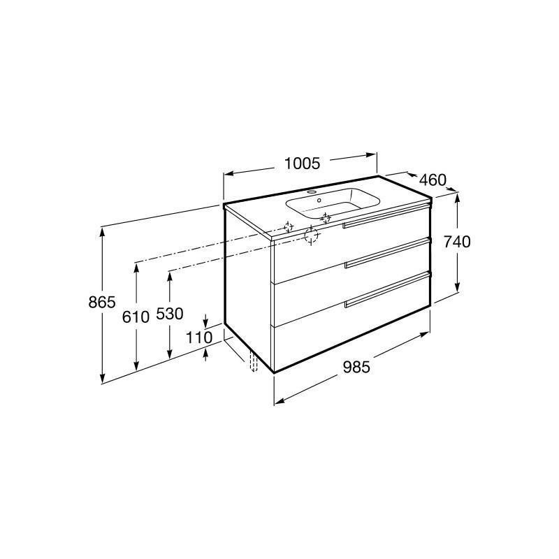 Roca Victoria-N Unik 1000mm 3 Drawer Base Unit & Basin Oak