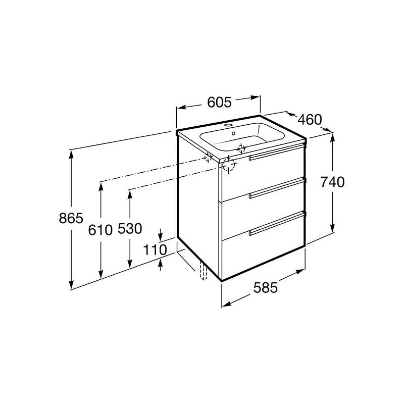 Roca Victoria-N Unik 600mm 3 Drawer Unit & Basin Gloss White
