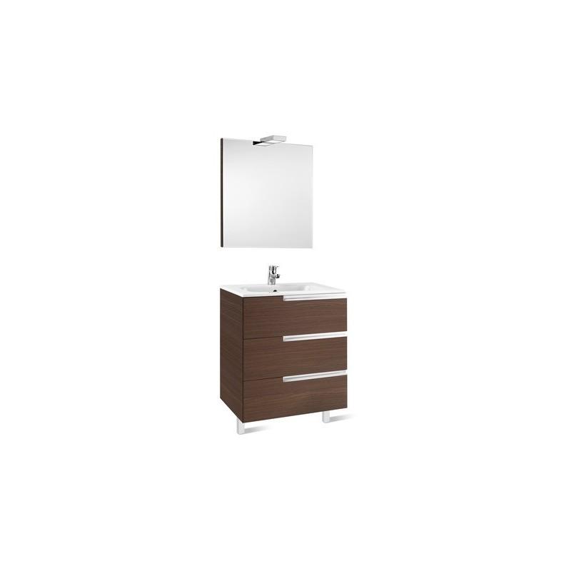 Roca Victoria-N Pack 700mm 3 Drawer Unit, Mirror & Light Grey