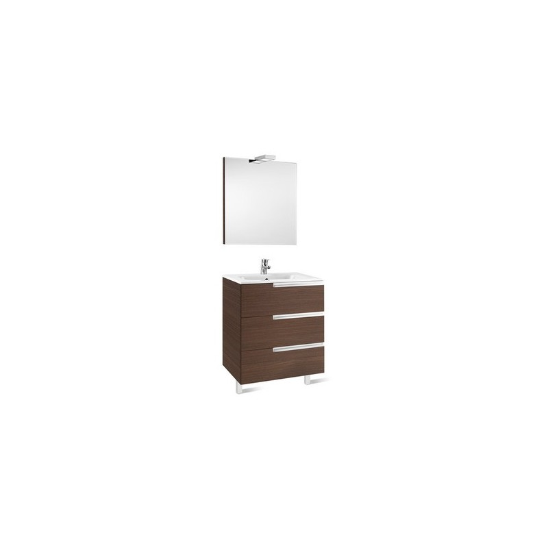 Roca Victoria-N Pack 700mm 3 Drawer Unit, Mirror & Light White
