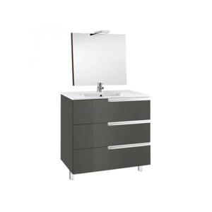 Roca Victoria-N Pack 600mm 3 Drawer Unit, Mirror & Light Grey