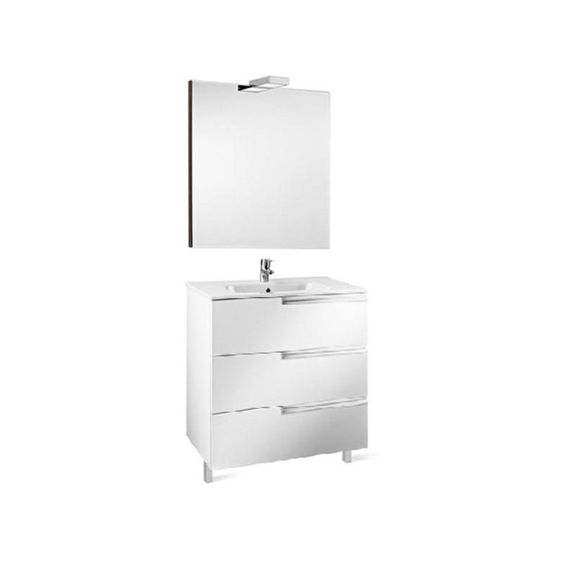 Roca Victoria-N Pack 600mm 3 Drawer Unit, Mirror & Light White