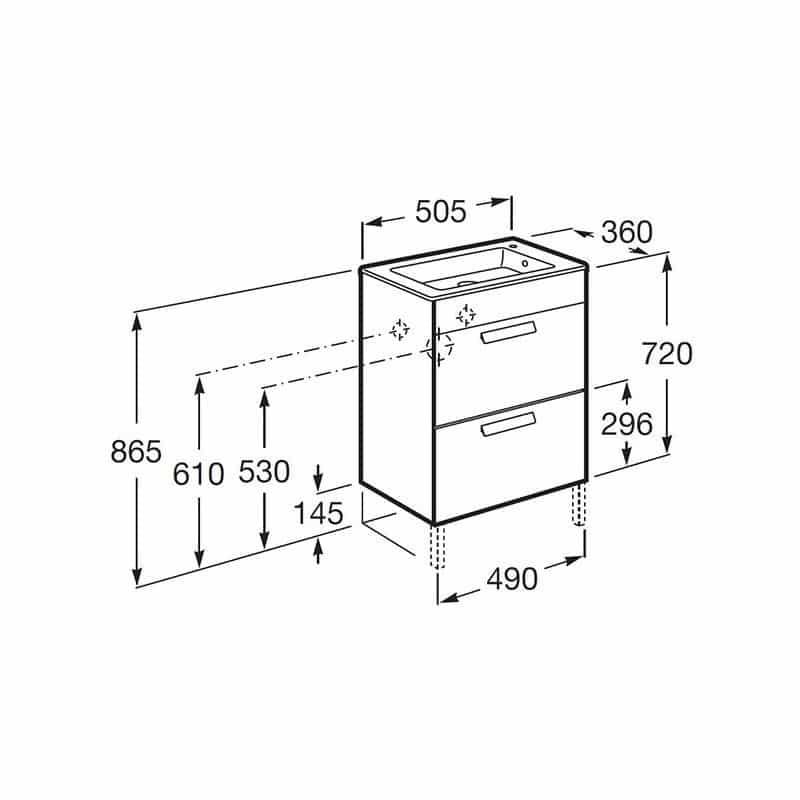 Roca Debba Compact Unik 500mm 2 Drawer Base Unit & Basin Oak