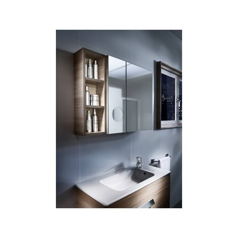Roca Luna Mirrored Cabinet 200mm Left Hand Textured Oak