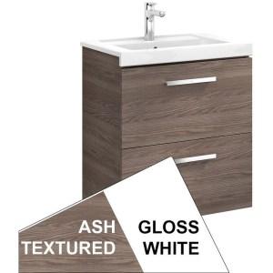Roca Prisma Wall Hung 2 Drawer Basin Unit 60cm White & Ash
