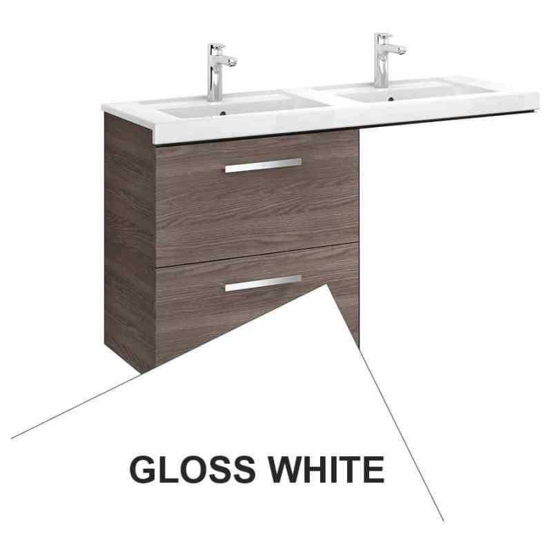 Roca Prisma 2 Drawer Wall Basin Unit 59cm LH Gloss White
