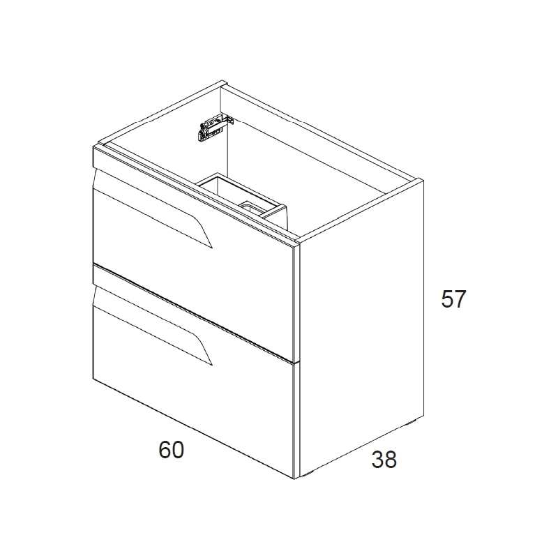 Royo Vitale 600mm Gloss White Slimline 2 Drawer Wall Unit