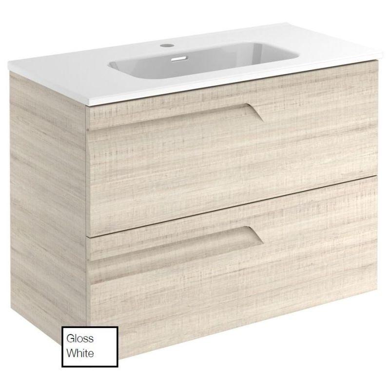 Royo Vitale 800mm Gloss White Slimline 2 Drawer Wall Unit