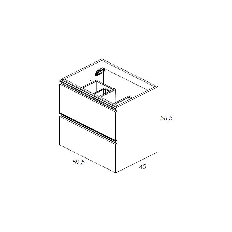Royo Vida 600mm Gloss White 2 Drawer Wall Unit