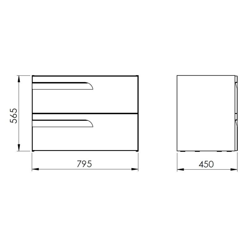 Royo Vitale 800mm 2 Drawer Wall Unit Light Oak