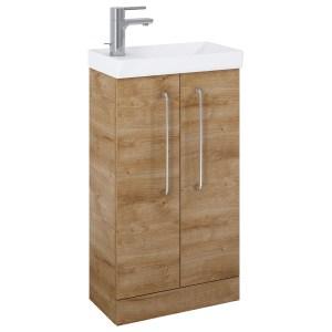 Royo Aquatrend Floorstanding Vanity Unit & Basin 450mm 2 Door Oak