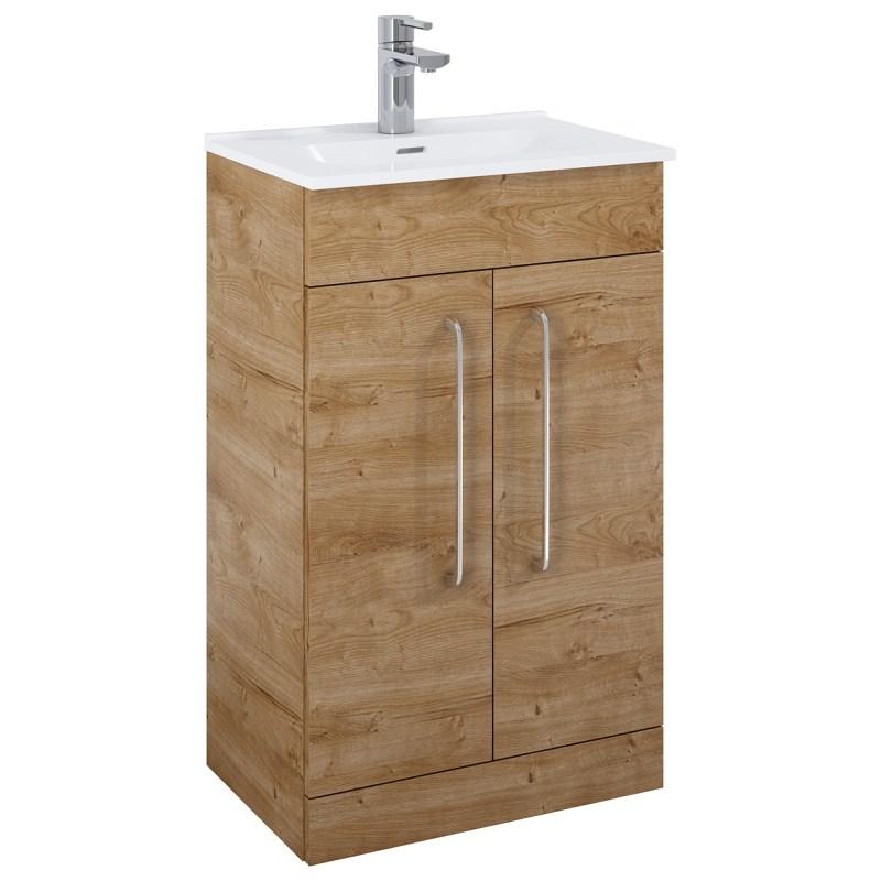 Royo Aquatrend Floorstanding Vanity Unit & Basin 500mm 2 Door Oak