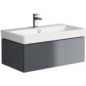 Synergy Berg 800mm Grey Wall Hung Washbasin Cabinet