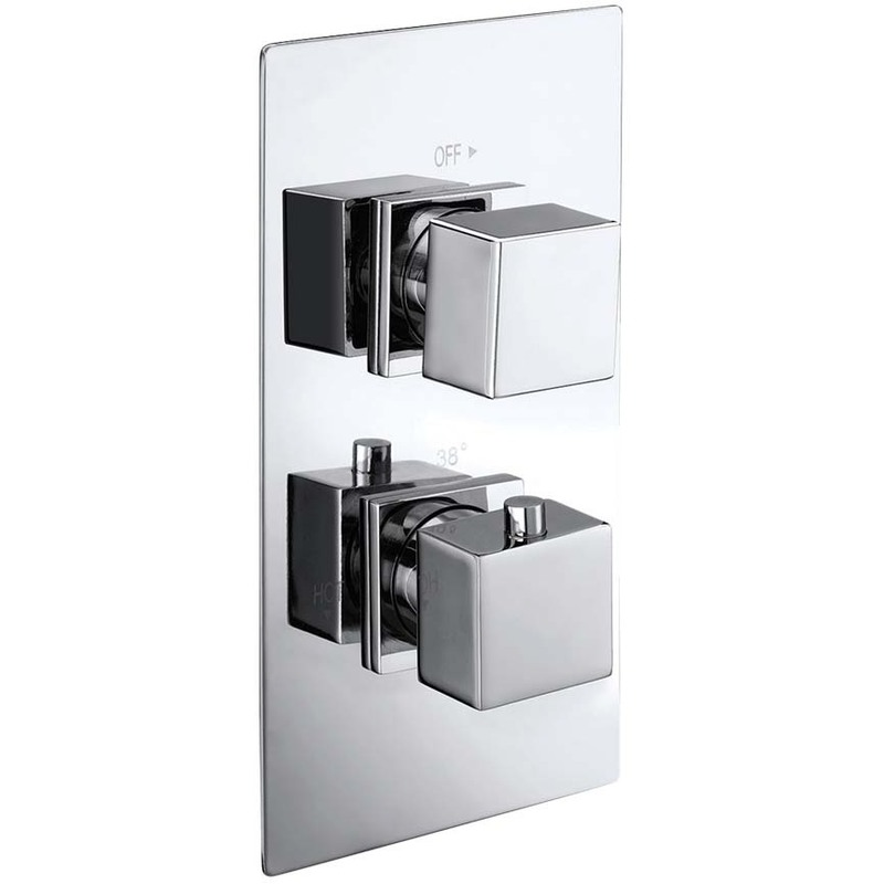 Synergy Twin Concealed Square Chrome Thermostatic Valve