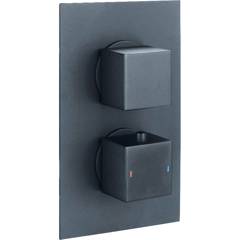 Synergy Twin Concealed Black Thermostatic Square Shower Valve