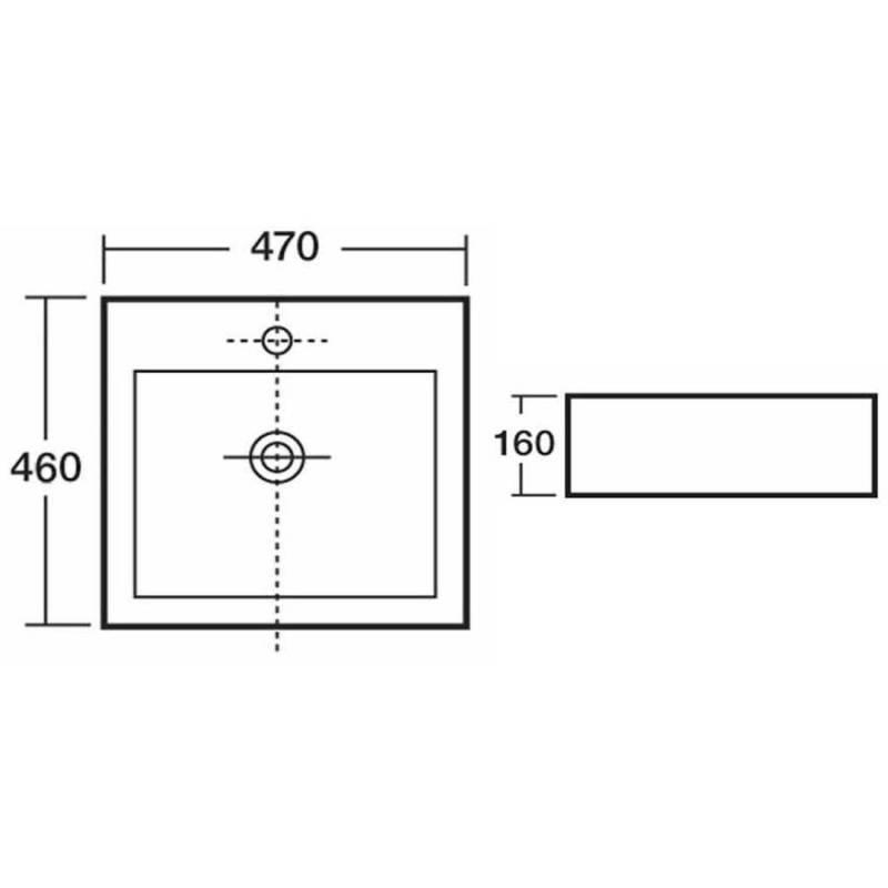 Synergy Quartz 470mm Countertop Basin