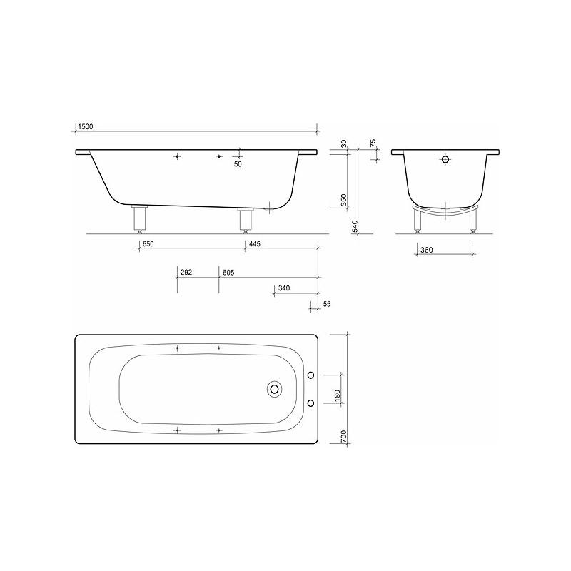 Twyford Celtic Bath 1500x700 2 Tap Plain with Grips & Legs