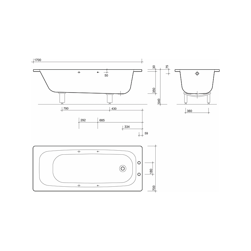 Twyford Celtic Bath 1700x700 2 Tap Plain with Grips & Legs
