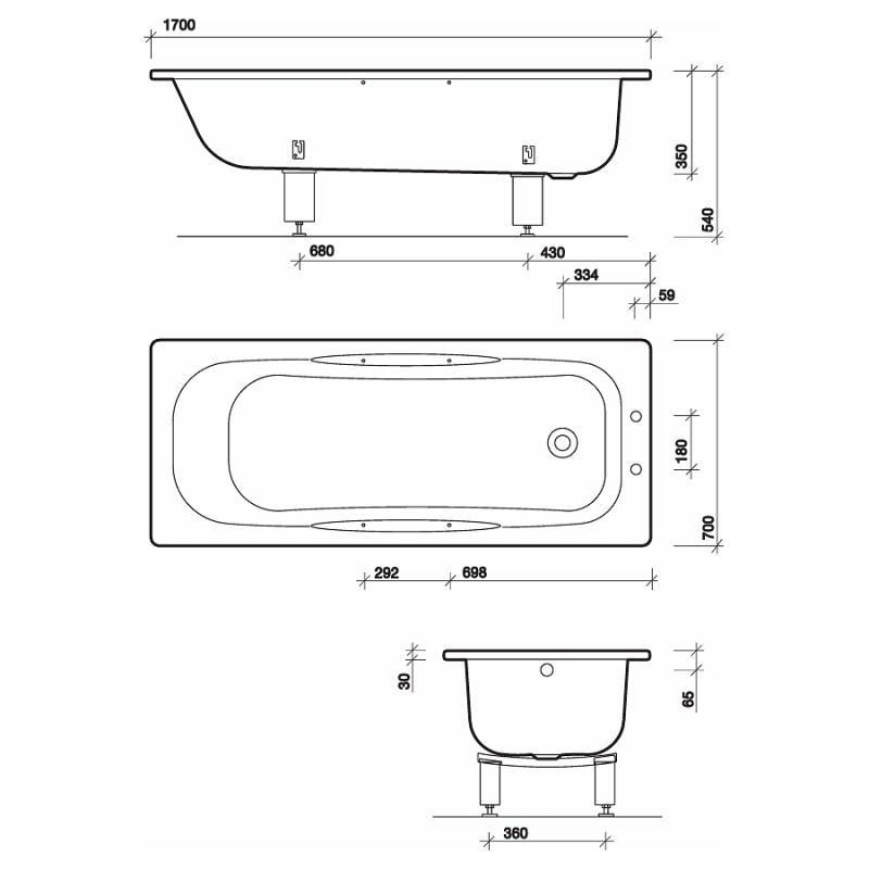 Twyford Celtic Bath 140 Litre 1700x700 2 Tap Slip Resist