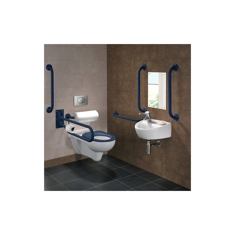 Twyford Doc M Rimless Wall Hung Pack, Left Hand, Blue