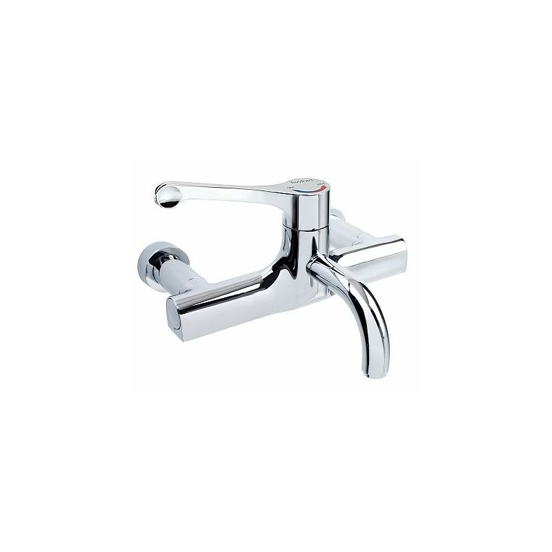 Twyford Sola Thermostatic Surgeons Wall Mixer Lever Tap, Fixed Spout