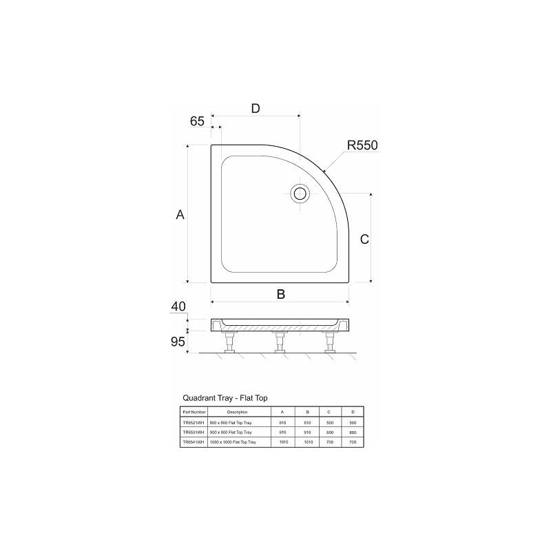 Twyford Shower Tray 800x800 Quadrant Flat Top