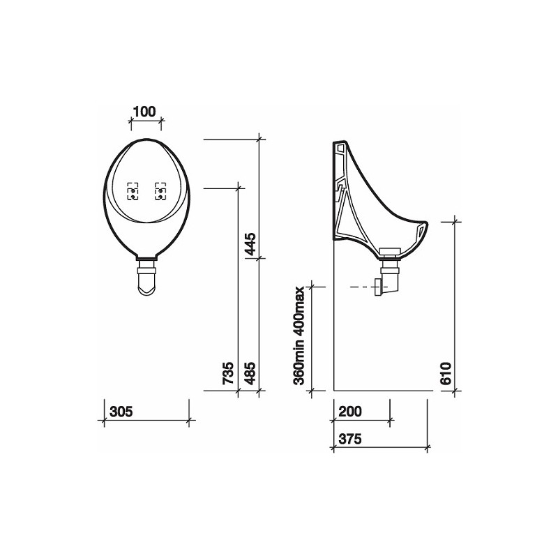 Twyford Clifton Waterless Urinal 305x445x375