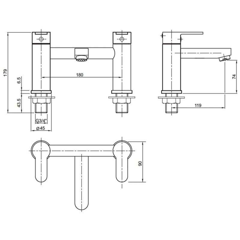 Twyford X50 Deck Mounted Bath Filler