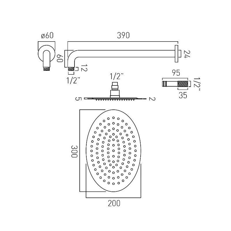 Vado Aquablade Oval Slimline Head & Arm 200x300mm
