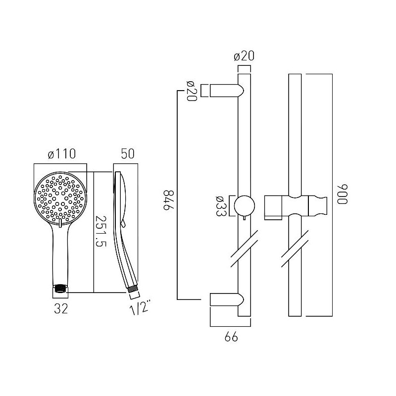 Vado Atmosphere 5 Function Air-Injection Slide Rail Shower Kit
