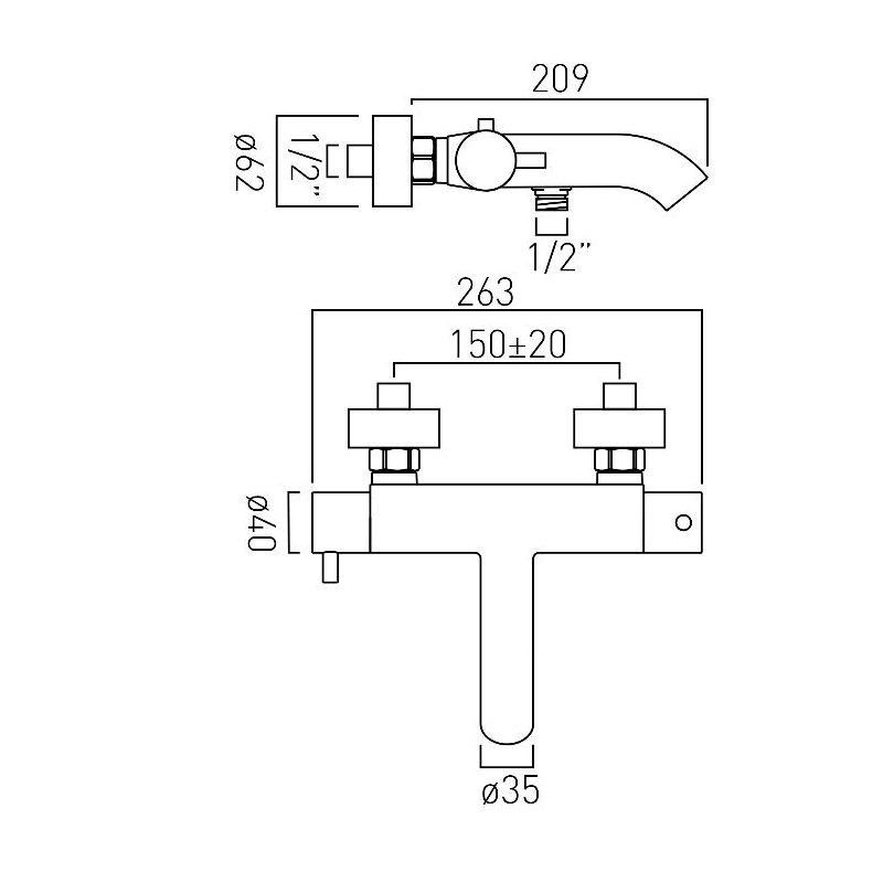 Vado Celsius Bath Shower Mixer without Shower Kit