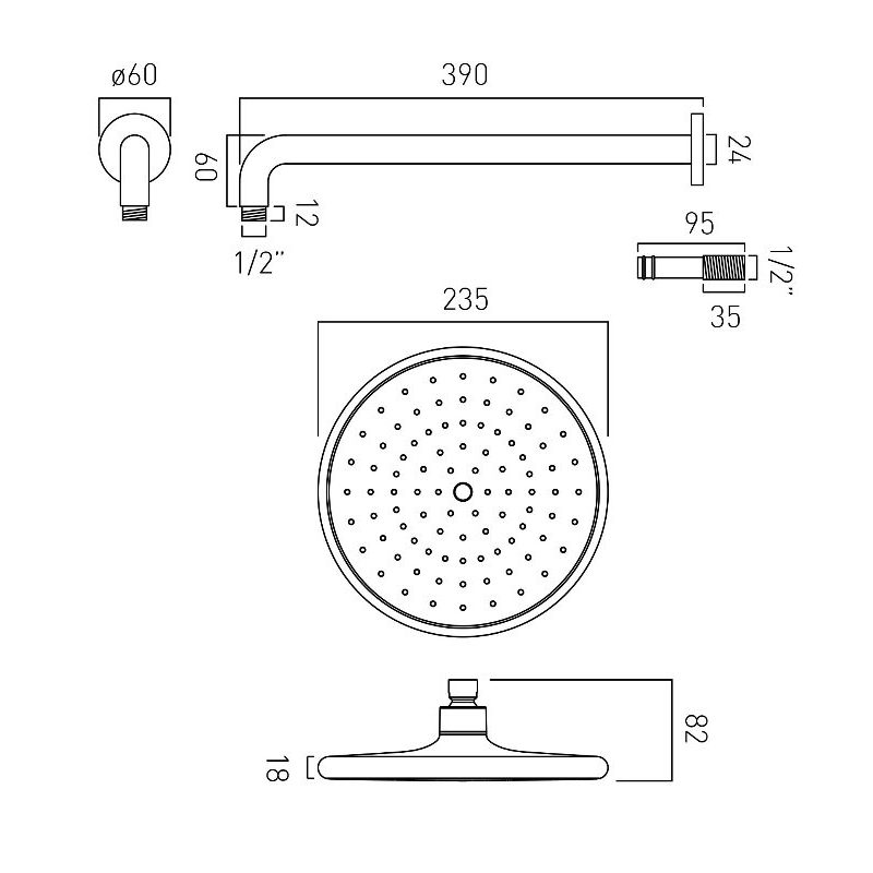 Vado Ceres Self-Cleaning Shower Head & Arm 235mm