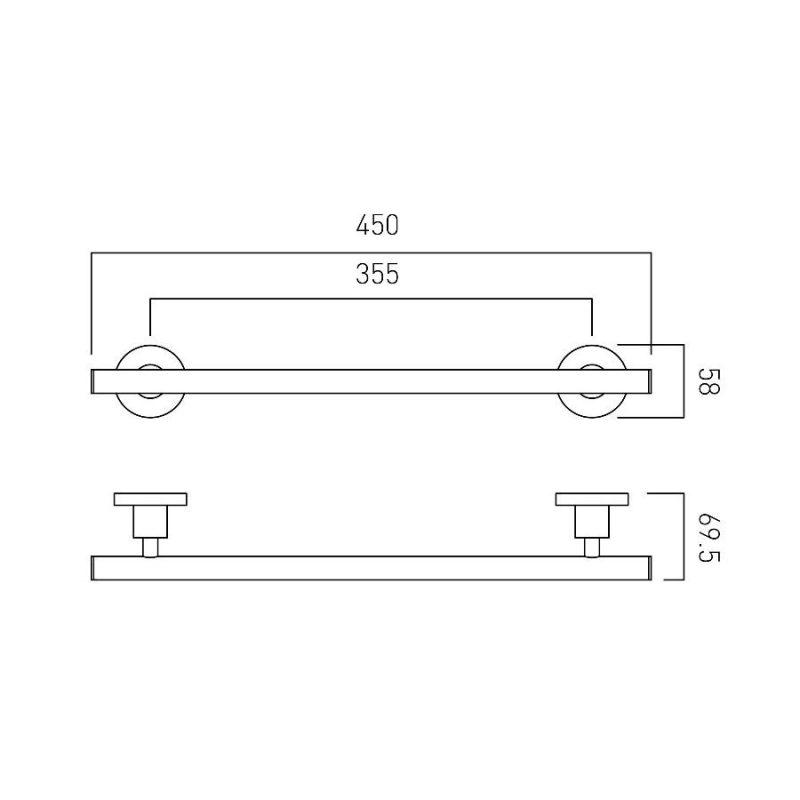 Vado Elements Towel Rail 450mm
