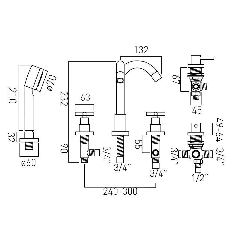 Vado Elements 5 Hole Bath Shower Mixer