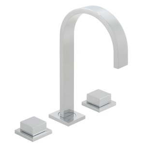 Vado Geo Deck Mounted 3 Hole Basin Mixer with Square Handles