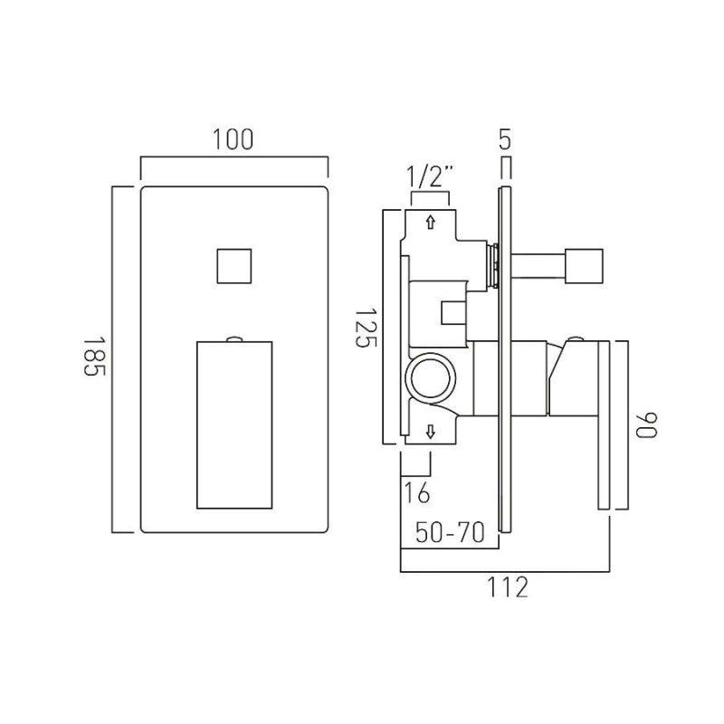 Vado Notion Manual Shower Valve with Diverter