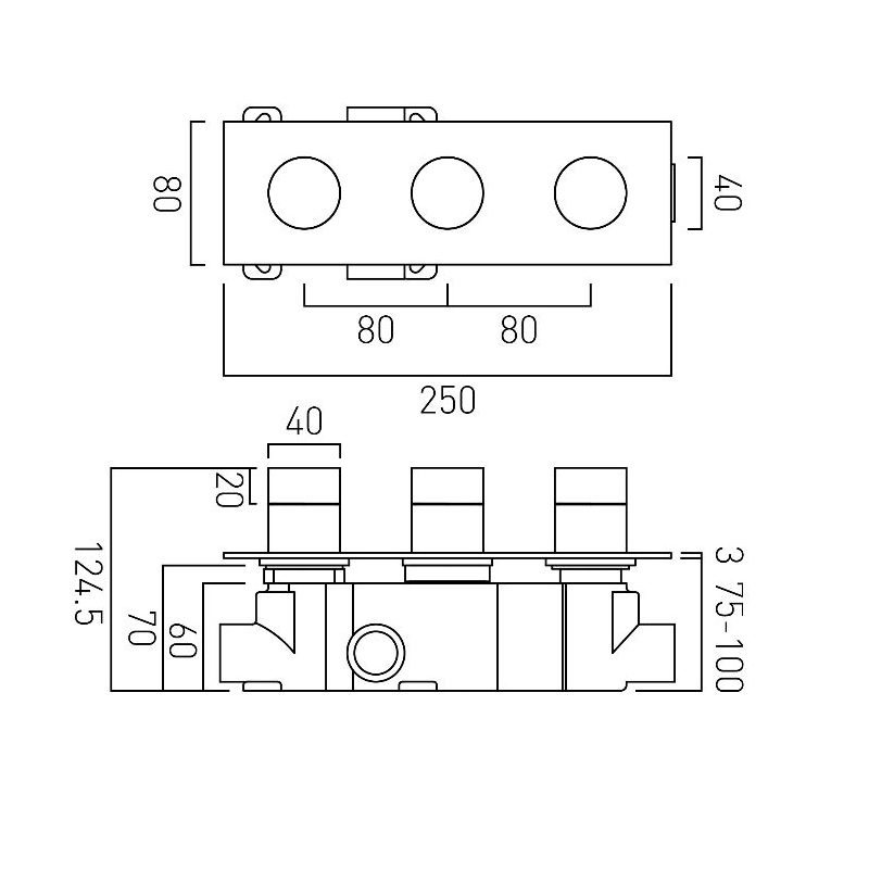 Vado Omika 2 Outlet 3 Handle Horizontal Thermostatic Valve