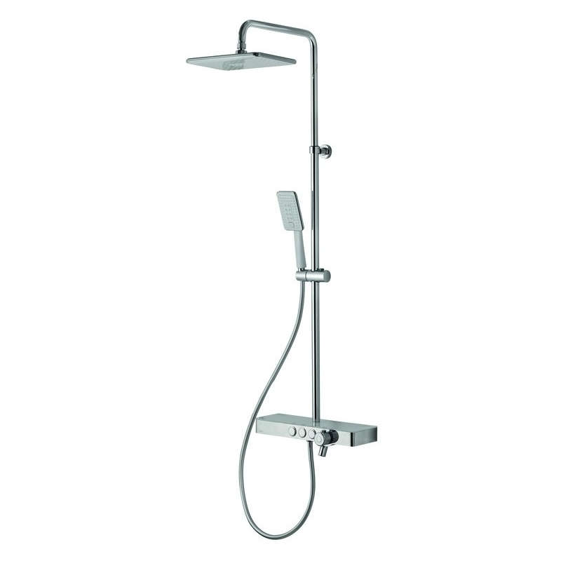 Vema Bar Shower with Integrated Shelf White/Chrome