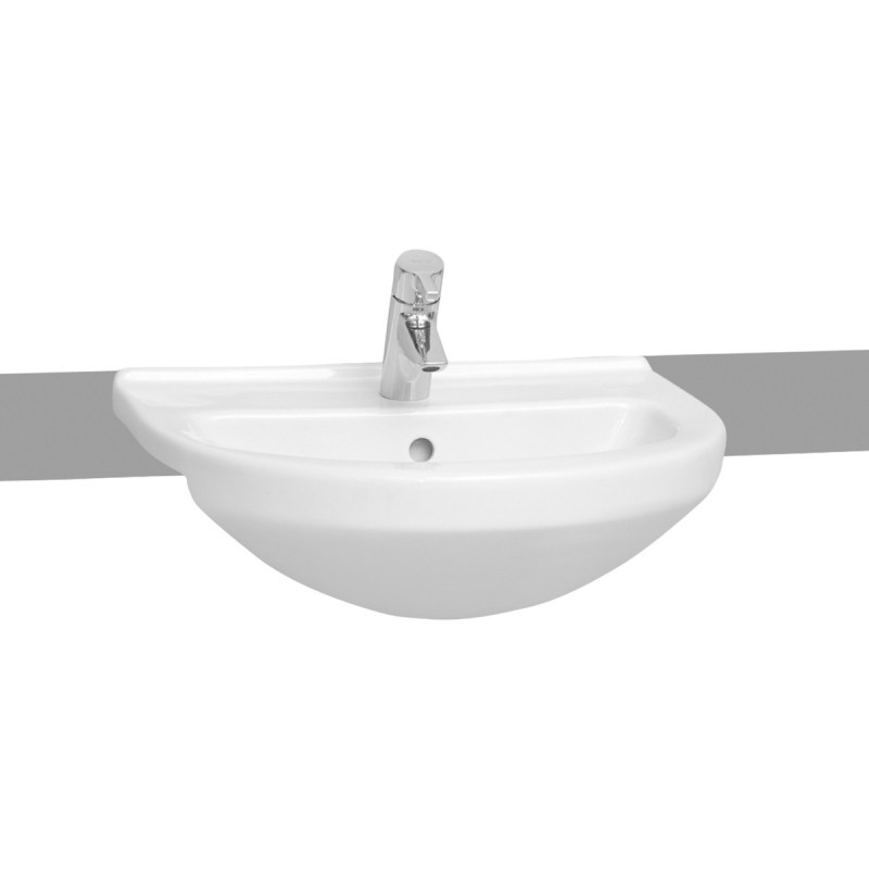 Vitra S50 Semi-Recessed Basin 55cm 1 Taphole White