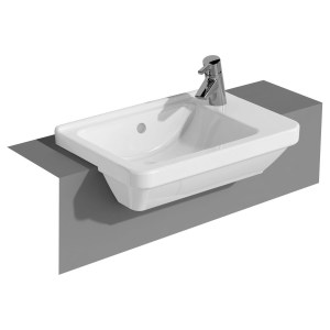 Vitra S50 Compact Semi Recessed Basin 55cm 1 Taphole Right Hand